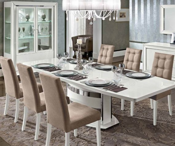High Gloss Extending Dining Table, Dining Room Table With 6 Chairs White