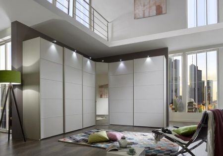 WIEMANN WESTSIDE VIP 5 Door Sliding Wardrobe in White Finish Ledges and Trims in White with a corner Unit