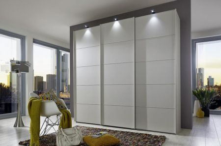 WIEMANN WESTSIDE VIP 3 Door Sliding Wardrobe in White Finish Ledges and Trims in White with 5 front panels