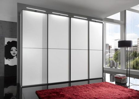 WIEMANN WESTSIDE VIP 4 Door Sliding Wardrobe in White Finish Ledges and Trims in Black with 2 front panels