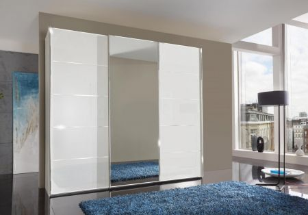 WIEMANN WESTSIDE VIP 3 Door Sliding Wardrobe in White Glass Finish with 1 Center Mirrored Door Ledges and Trims in Chrome with 5 front panels