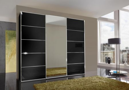 WIEMANN WESTSIDE VIP 3 Door Sliding Wardrobe in Black Glass Finish with 1 Center Mirrored Door Ledges and Trims in Chrome with 5 front panels