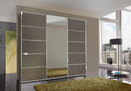 WIEMANN WESTSIDE VIP 3 Door Sliding Wardrobe in Havana Glass Finish with 1 Center Mirrored Door Ledges and Trims in Chrome with 5 front panels