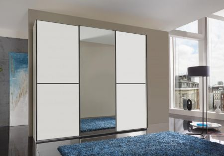 WIEMANN WESTSIDE VIP 3 Door Sliding Wardrobe in White Finish with 1 Center Mirrored Door Ledges and Trims in Black with 2 front panels