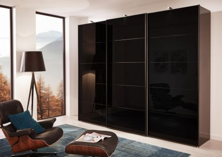 WIEMANN WESTSIDE VIP 3 Door Sliding Wardrobe in Black Glass Finish Door Ledges and Trims in Chrome with 5 front panels