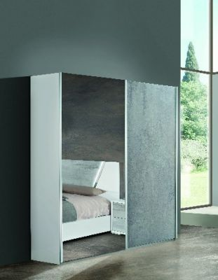 H2O Design Marlene White-Concrete Finish Sliding Wardrobe
