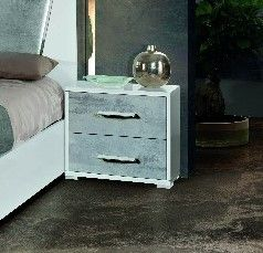 H2O Design Marlene White-Concrete Finish Night Table