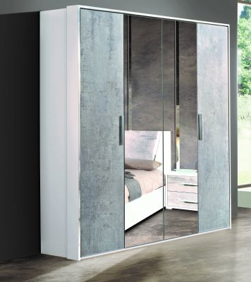H2O Design Marlene White-Concrete 4 Door Wardrobe Finish (2 Central Mirrors)