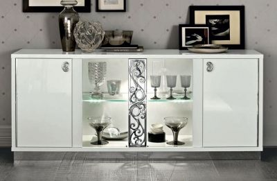 Camel Group Roma Glamour White High Gloss 4 Door Buffet with Glass Door