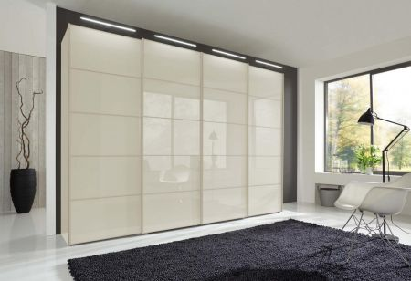 WIEMANN WESTSIDE VIP 4 Door Sliding Wardrobe in White Glass Finish Door Ledges and Trims in White with 5 front panels