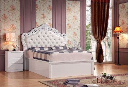 Francis High Gloss Storage Bed With Leather Headboard
