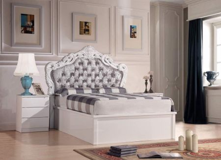 Francis High Gloss Storage Bed With Crushed Velvet Headboard