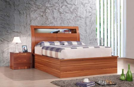 Rugby Walnut Bed With Storage & Led Light