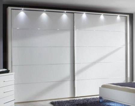 WIEMANN Hollywood 2 Door Sliding Wardrobe with Front in White Finish with Chrome Trims