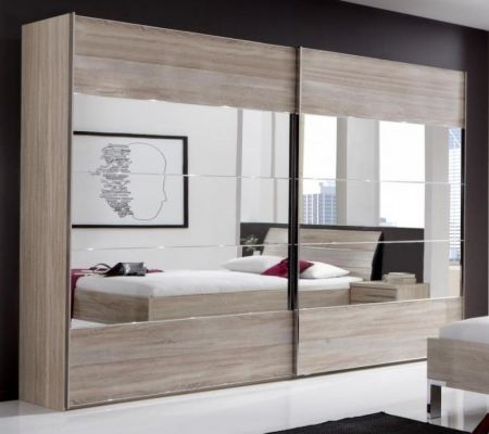 WIEMANN Hollywood 2 Door Sliding Wardrobe with Front in Dark Rustic Oak Finish with Highlights in Mirror