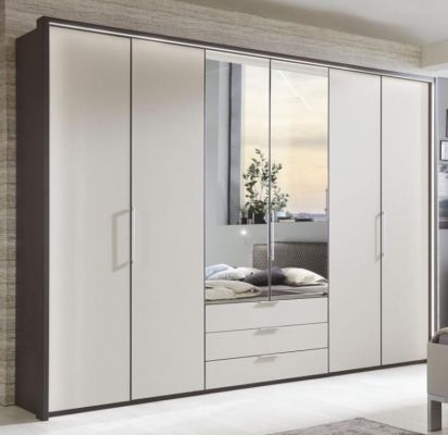 WIEMANN Glasgow 6 Door Combination Wardrobe Front Matt Glass Pebble Grey with Graphite Carcase colour and 2 Mirrored Doors with Passe Partout.