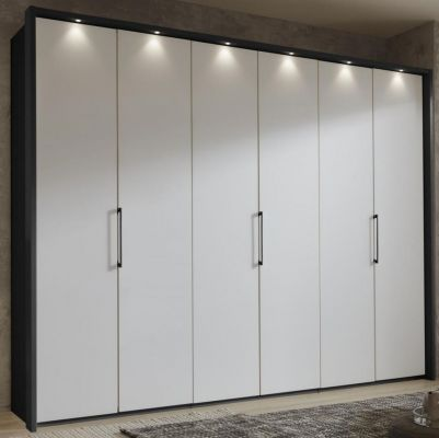 WIEMANN Glasgow 6 Door Hinged Wardrobe Front White and Graphite Carcase Colour with Passe Partout with Lights
