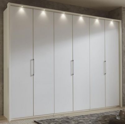 WIEMANN Glasgow 6 Door Hinged Wardrobe with White Front and Carcase Colour with Passe Partout with Lights