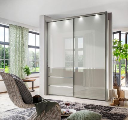 WIEMANN Misura 2 Door Sliding with Top panel in glass white and bottom door field and 2 drawers in Pebble Grey Glass.