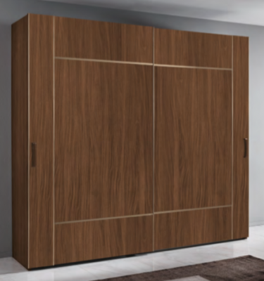 Saltarelli Emozioni Walnut 2 Door Wardrobe With Wood Bands
