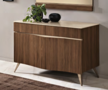 Saltarelli Emozioni Walnut 2 Door Base With Marble Top and Wooden Drawers