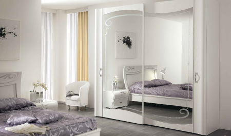 Saltarelli Diadema 2 Door Mirrored Sliding Wardrobe with Flush Mounted.