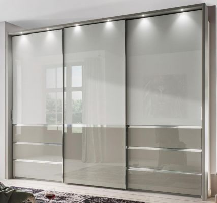 WIEMANN Misura 3 Door Sliding with Top panel in glass white and bottom door field and 3 drawers in Pebble Grey Glass.
