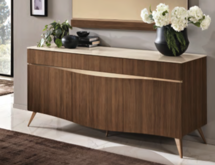 Saltarelli Emozioni Walnut 3 Door Console With Marble Top and Wooden Drawers