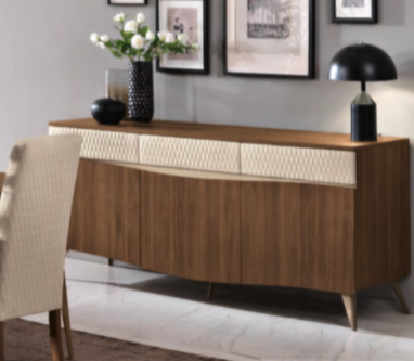 Saltarelli Emozioni Walnut 3 Door Console With Wooden Top and Upholstered Drawers