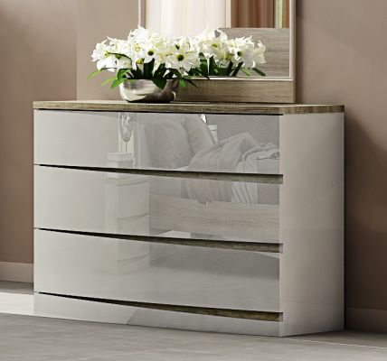 Hayley Cashmere High Gloss and Havana Oak 3 Drawer Dresser