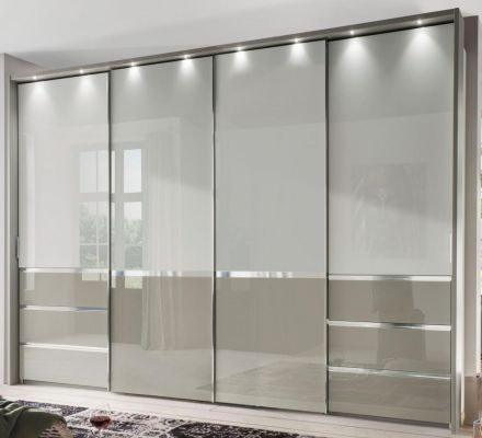 WIEMANN Misura 4 Door Sliding with Top panel in glass white and bottom door field and 6 drawers in Pebble Grey Glass.