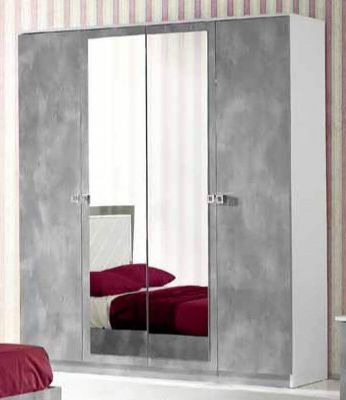 Ben Company Stella White-Grey 4 Door Wardrobe