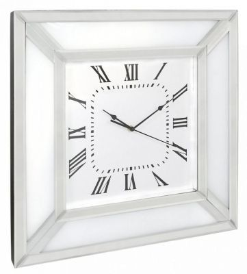 Stunning modern white plain mirrored wall clock with white glass border