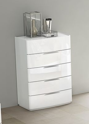 Eleanor White High Gloss 5 Drawer Chest