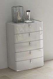 Mila Cashmere High Gloss 5 Drawer Chest