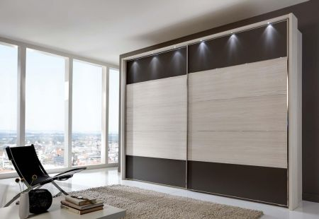 WIEMANN Hollywood 2 Door Sliding Wardrobe with Front in Polar Arch Finish with Highlights in Havana Glass