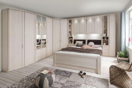 WIEMANN LUXOR Combination 8 Doors Hinged Wardrobe in Polar Larch Repro Finish . Combination Unit10 with 50 cm occasional elements, 3drawers at bottom, open compartment with clear glass doors.