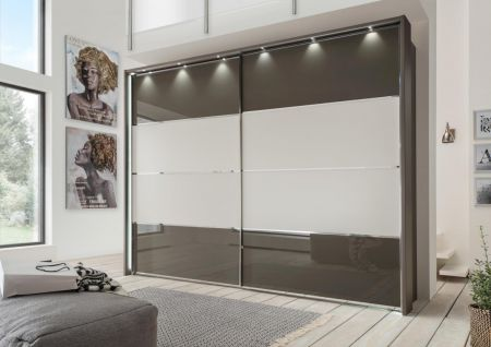 WIEMANN Limara 2 Door Sliding Wardrobe with Front in Havana Carcase with rows 2 and 3 in Champagne Glass