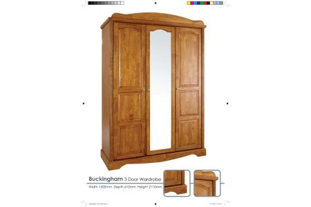 Buckingham Solid Oak 3 Door Robe