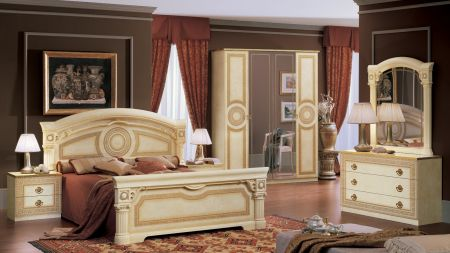 Camel Group Aida Ivory and Gold Bedroom Set