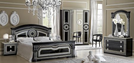 Camel Group Aida Black and Silver Bedroom Set