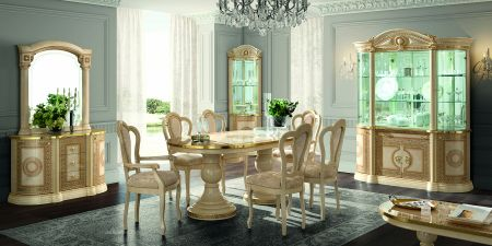 Camel Group Aida Ivory and Gold Round Dining Table With Extension