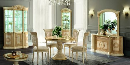 Camel Group Aida Ivory and Gold Round Table With Extension