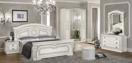 Camel Group Aida White and Silver Bedroom Set