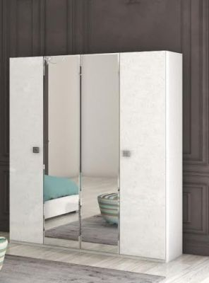 San Martino Alexa High Gloss 4 Door Wardrobe With 2 Mirrored Doors