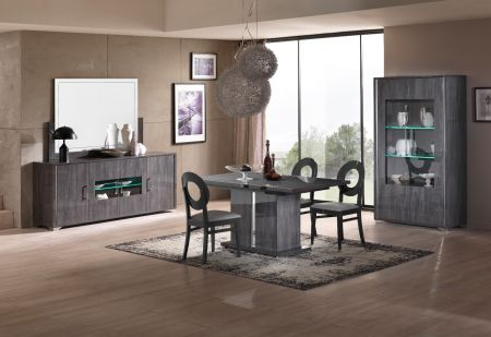 San Martino Armony Grey Extending Dining Set With 4X Oval Back Chairs