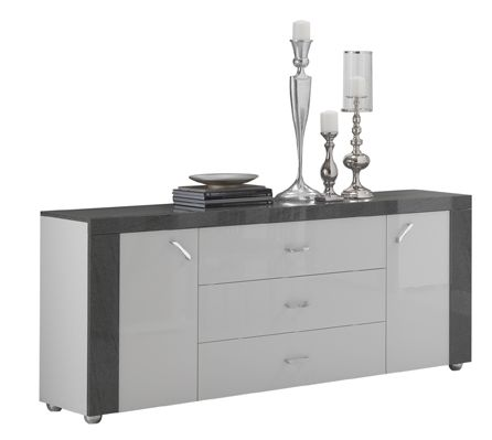 San Martino Ascot 2 Door Sideboard with 3 Drawers in White & Grey High Gloss