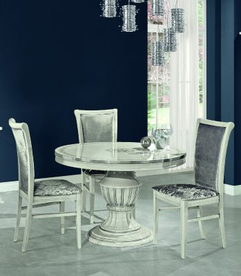 H2O Design Aurora White-Silver Round Extendable Table