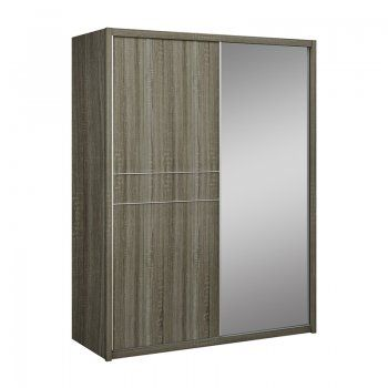 Hayley Cashmere High Gloss and Havana Oak 2 Door Sliding Wardrobe With Mirror