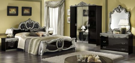 Camel Group Barocco Black and Silver Bedroom Set